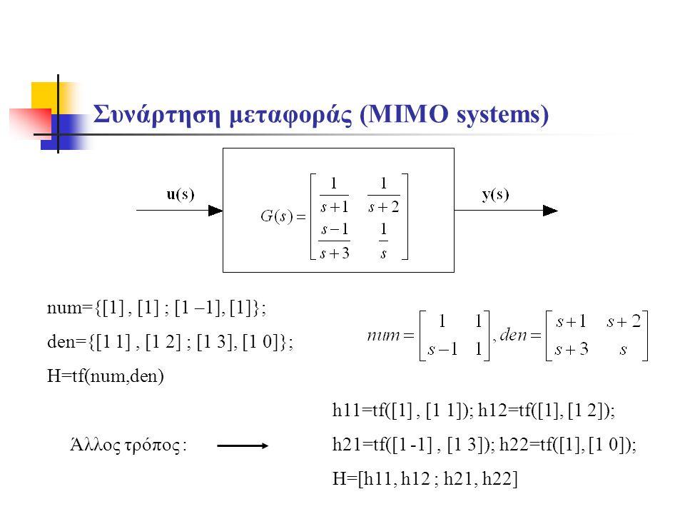 Συνάρτηση μεταφοράς (MIMO systems) num={[1], [1] ; [1 –1], [1]}; den={[1 1], [1 2] ; [1 3], [1 0]}; H=tf(num,den) h11=tf([1], [1 1]); h12=tf([1], [1 2]); h21=tf([1 -1], [1 3]); h22=tf([1], [1 0]); H=[h11, h12 ; h21, h22] Άλλος τρόπος :