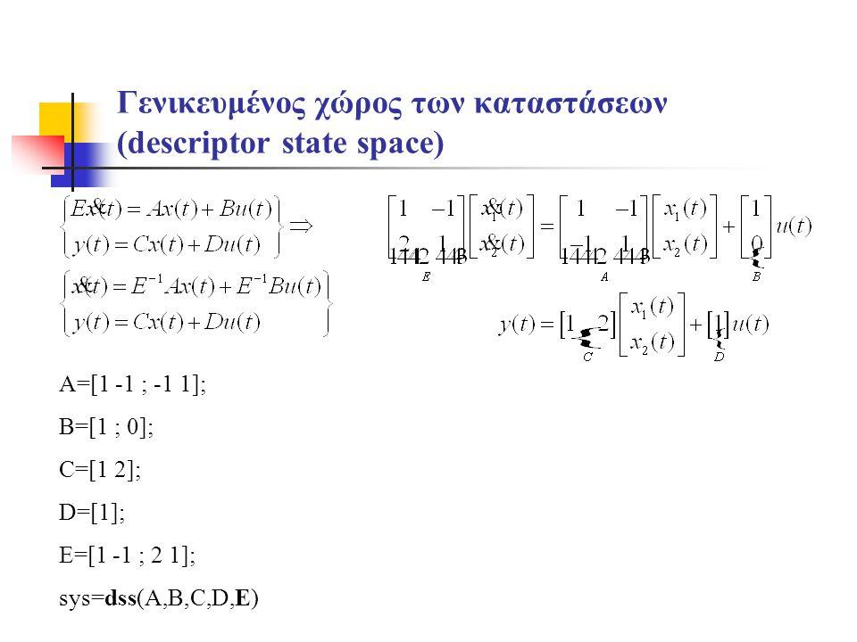 Γενικευμένος χώρος των καταστάσεων (descriptor state space) A=[1 -1 ; -1 1]; B=[1 ; 0]; C=[1 2]; D=[1]; E=[1 -1 ; 2 1]; sys=dss(A,B,C,D,E)