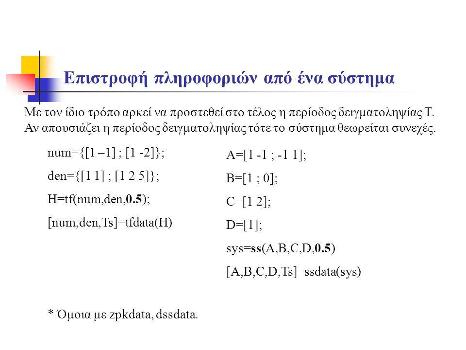 Επιστροφή πληροφοριών από ένα σύστημα A=[1 -1 ; -1 1]; B=[1 ; 0]; C=[1 2]; D=[1]; sys=ss(A,B,C,D,0.5) [A,B,C,D,Ts]=ssdata(sys) Με τον ίδιο τρόπο αρκεί να προστεθεί στο τέλος η περίοδος δειγματοληψίας Τ.