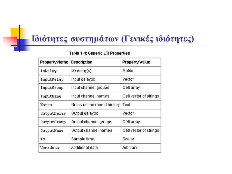 Ιδιότητες συστημάτων (Γενικές ιδιότητες)