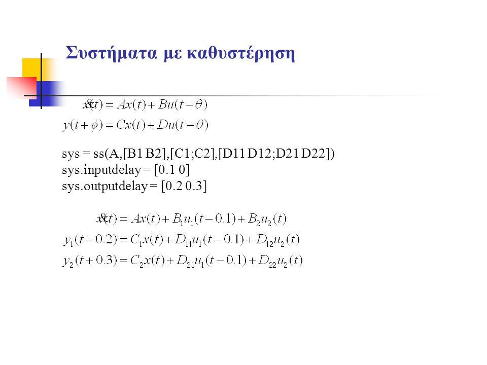 Συστήματα με καθυστέρηση sys = ss(A,[B1 B2],[C1;C2],[D11 D12;D21 D22]) sys.inputdelay = [0.1 0] sys.outputdelay = [0.2 0.3]