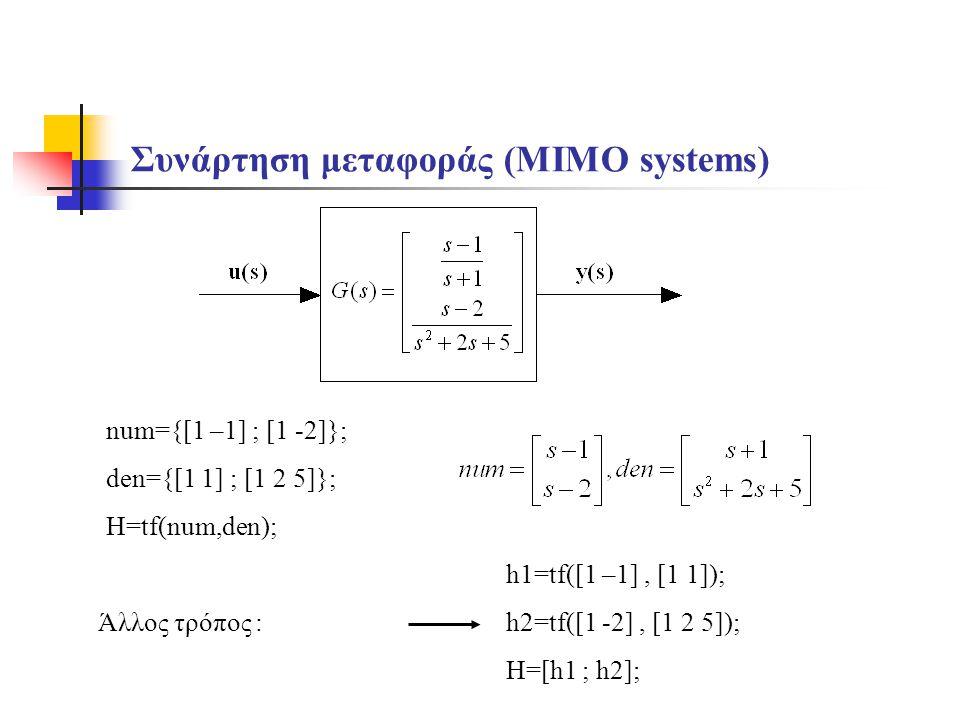Συνάρτηση μεταφοράς (MIMO systems) num={[1 –1] ; [1 -2]}; den={[1 1] ; [1 2 5]}; H=tf(num,den); h1=tf([1 –1], [1 1]); h2=tf([1 -2], [1 2 5]); H=[h1 ; h2]; Άλλος τρόπος :