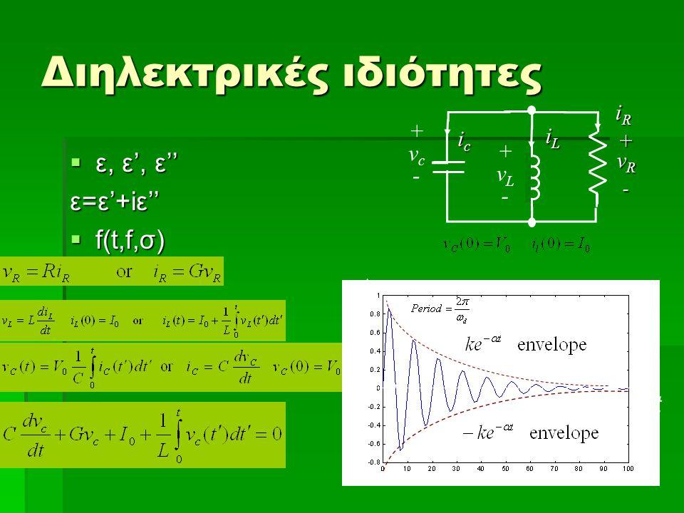 Διηλεκτρικές ιδιότητες  ε, ε', ε'' ε=ε'+iε''  f(t,f,σ) icicicic + ++vRvR--++vRvR--- +vc-+vc- iRiRiRiR iLiLiLiL +vL-+vL- t
