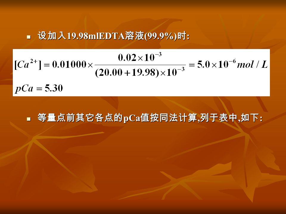 设加入 19.98mlEDTA 溶液 (99.9%) 时 : 设加入 19.98mlEDTA 溶液 (99.9%) 时 : 等量点前其它各点的 pCa 值按同法计算, 列于表中, 如下 : 等量点前其它各点的 pCa 值按同法计算, 列于表中, 如下 :