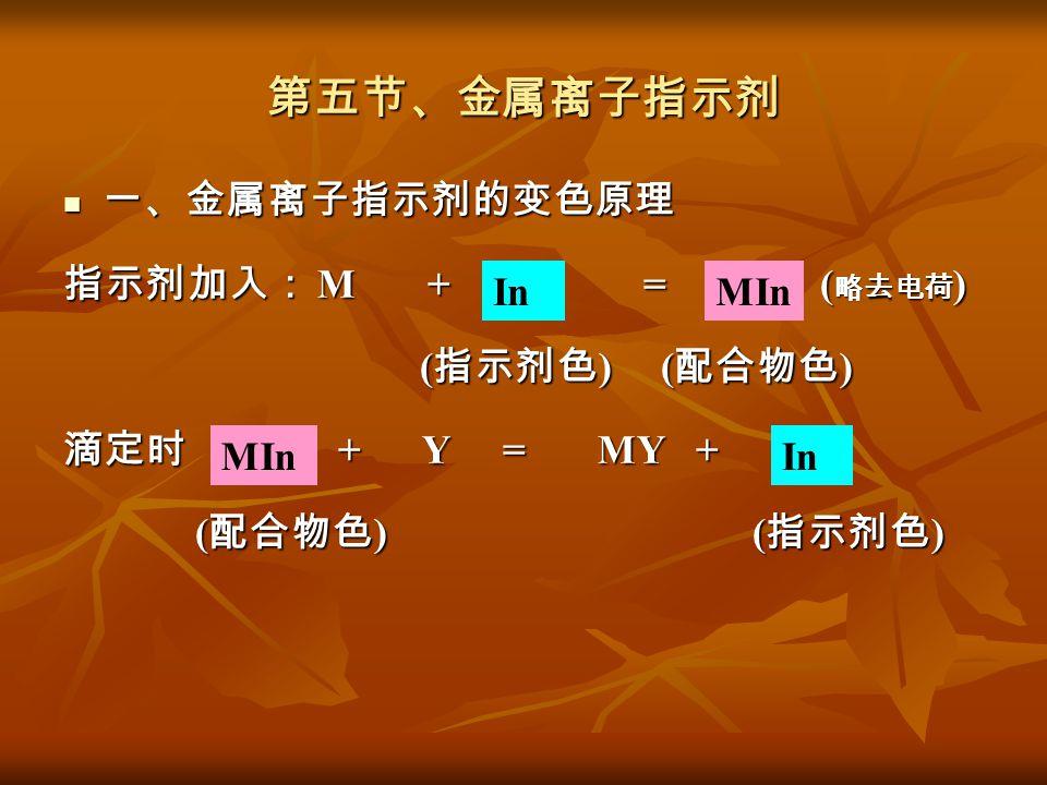 第五节、金属离子指示剂 一、金属离子指示剂的变色原理 一、金属离子指示剂的变色原理 指示剂加入: M + = ( 略去电荷 ) ( 指示剂色 ) ( 配合物色 ) ( 指示剂色 ) ( 配合物色 ) 滴定时 + Y = MY + ( 配合物色 ) ( 指示剂色 ) ( 配合物色 ) ( 指示剂色 )