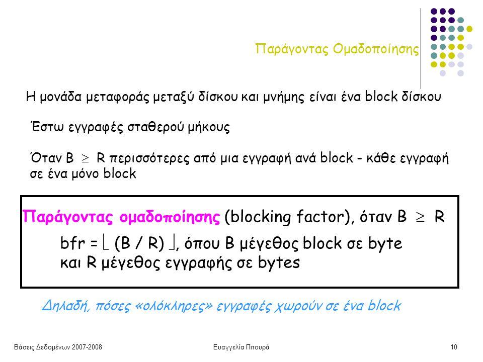 Βάσεις Δεδομένων 2007-2008Ευαγγελία Πιτουρά10 Παράγοντας Ομαδοποίησης Η μονάδα μεταφοράς μεταξύ δίσκου και μνήμης είναι ένα block δίσκου Παράγοντας ομαδοποίησης (blocking factor), όταν Β  R bfr =  (B / R) , όπου Β μέγεθος block σε byte και R μέγεθος εγγραφής σε bytes Όταν Β  R περισσότερες από μια εγγραφή ανά block - κάθε εγγραφή σε ένα μόνο block Έστω εγγραφές σταθερού μήκους Δηλαδή, πόσες «ολόκληρες» εγγραφές χωρούν σε ένα block