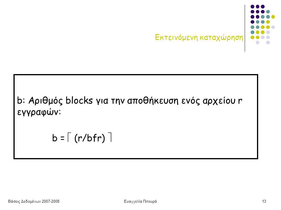 Βάσεις Δεδομένων 2007-2008Ευαγγελία Πιτουρά13 Εκτεινόμενη καταχώρηση b: Αριθμός blocks για την αποθήκευση ενός αρχείου r εγγραφών: b =  (r/bfr) 