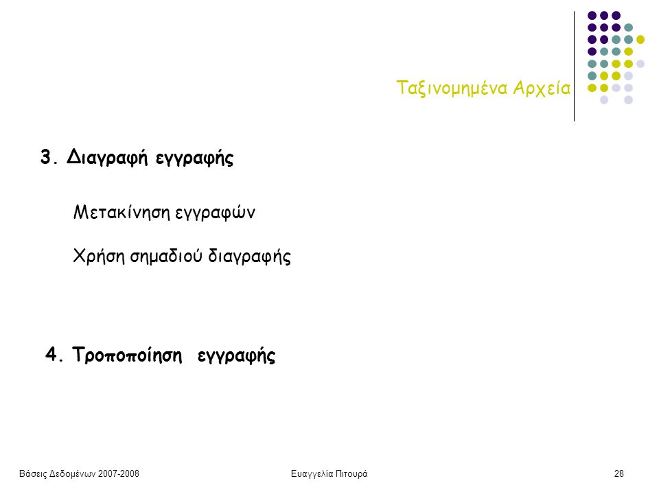 Βάσεις Δεδομένων 2007-2008Ευαγγελία Πιτουρά28 Ταξινομημένα Αρχεία 3.