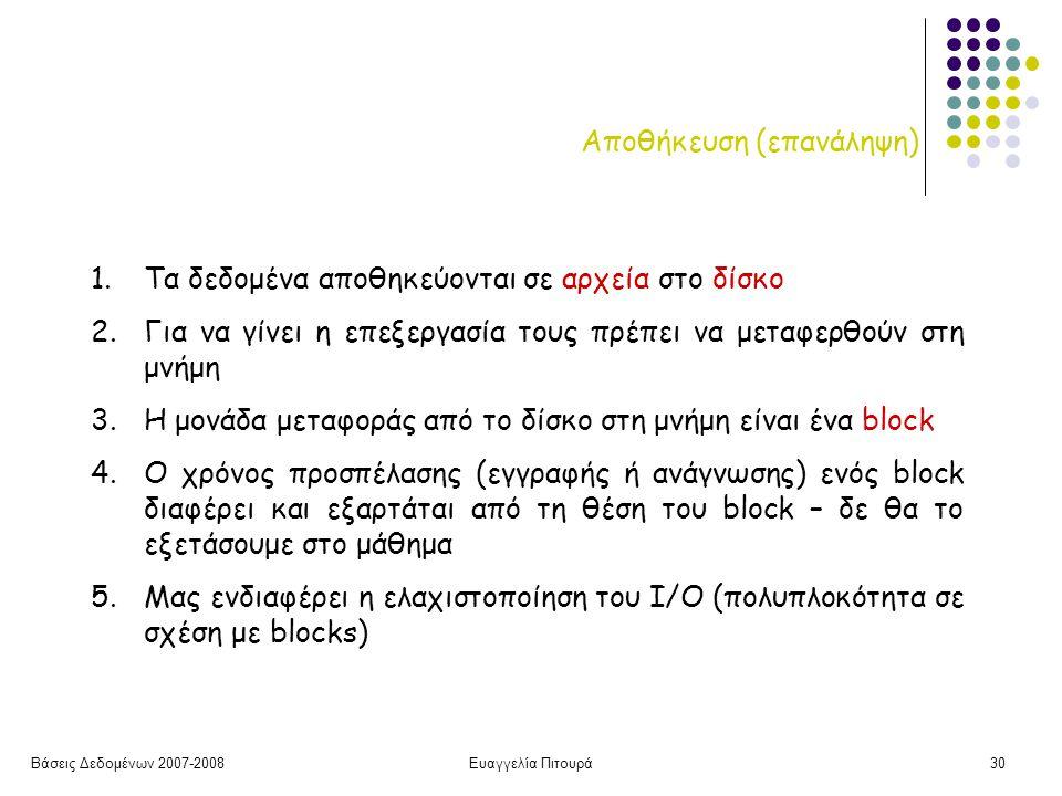 Βάσεις Δεδομένων 2007-2008Ευαγγελία Πιτουρά30 Αποθήκευση (επανάληψη) 1.Τα δεδομένα αποθηκεύονται σε αρχεία στο δίσκο 2.Για να γίνει η επεξεργασία τους πρέπει να μεταφερθούν στη μνήμη 3.Η μονάδα μεταφοράς από το δίσκο στη μνήμη είναι ένα block 4.Ο χρόνος προσπέλασης (εγγραφής ή ανάγνωσης) ενός block διαφέρει και εξαρτάται από τη θέση του block – δε θα το εξετάσουμε στο μάθημα 5.Μας ενδιαφέρει η ελαχιστοποίηση του Ι/Ο (πολυπλοκότητα σε σχέση με blocks)