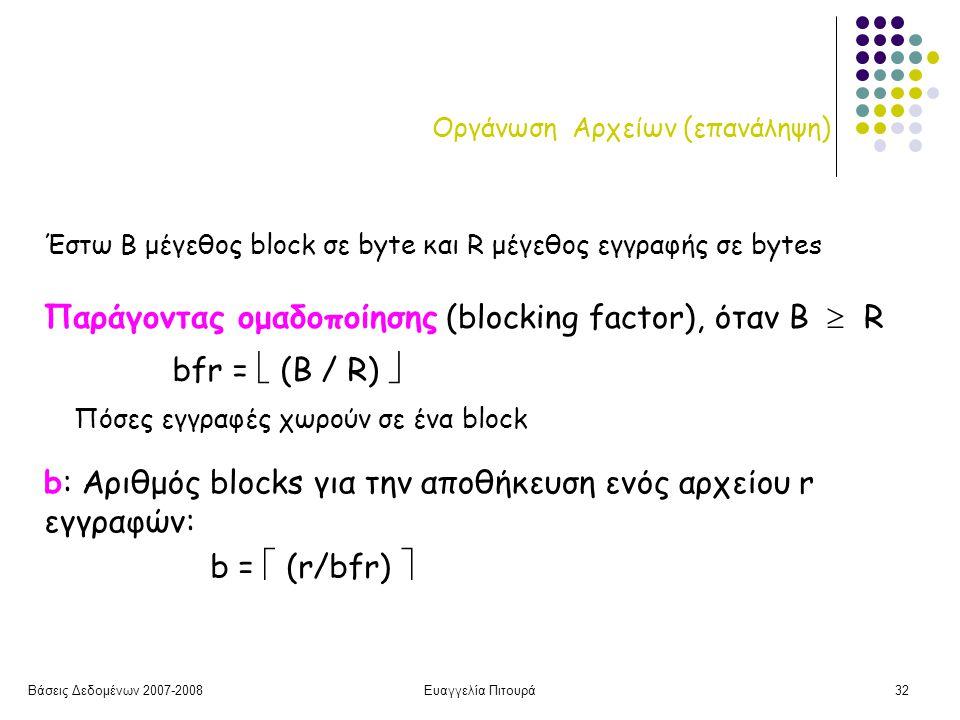 Βάσεις Δεδομένων 2007-2008Ευαγγελία Πιτουρά32 Οργάνωση Αρχείων (επανάληψη) Παράγοντας ομαδοποίησης (blocking factor), όταν Β  R bfr =  (B / R)  Έστω Β μέγεθος block σε byte και R μέγεθος εγγραφής σε bytes Πόσες εγγραφές χωρούν σε ένα block b: Αριθμός blocks για την αποθήκευση ενός αρχείου r εγγραφών: b =  (r/bfr) 