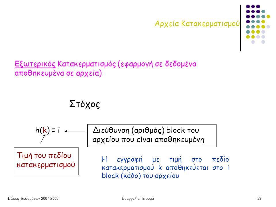 Βάσεις Δεδομένων 2007-2008Ευαγγελία Πιτουρά39 Αρχεία Κατακερματισμού h(k) = i Τιμή του πεδίου κατακερματισμού Διεύθυνση (αριθμός) block του αρχείου που είναι αποθηκευμένη Στόχος Η εγγραφή με τιμή στο πεδίο κατακερματισμού k αποθηκεύεται στο i block (κάδο) του αρχείου Εξωτερικός Κατακερματισμός (εφαρμογή σε δεδομένα αποθηκευμένα σε αρχεία)