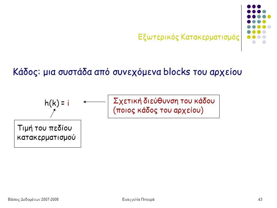 Βάσεις Δεδομένων 2007-2008Ευαγγελία Πιτουρά43 Εξωτερικός Κατακερματισμός h(k) = i Τιμή του πεδίου κατακερματισμού Σχετική διεύθυνση του κάδου (ποιος κάδος του αρχείου) Κάδος: μια συστάδα από συνεχόμενα blocks του αρχείου