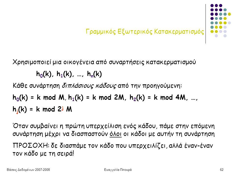 Βάσεις Δεδομένων 2007-2008Ευαγγελία Πιτουρά62 Γραμμικός Εξωτερικός Κατακερματισμός Χρησιμοποιεί μια οικογένεια από συναρτήσεις κατακερματισμού h 0 (k), h 1 (k), …, h n (k) Κάθε συνάρτηση διπλάσιους κάδους από την προηγούμενη: h 0 (k) = k mod M, h 1 (k) = k mod 2M, h 2 (k) = k mod 4M, …, h j (k) = k mod 2 j M Όταν συμβαίνει η πρώτη υπερχείλιση ενός κάδου, πάμε στην επόμενη συνάρτηση μέχρι να διασπαστούν όλοι οι κάδοι με αυτήν τη συνάρτηση ΠΡΟΣΟΧΗ: δε διασπάμε τον κάδο που υπερχειλίζει, αλλά έναν-έναν τον κάδο με τη σειρά!