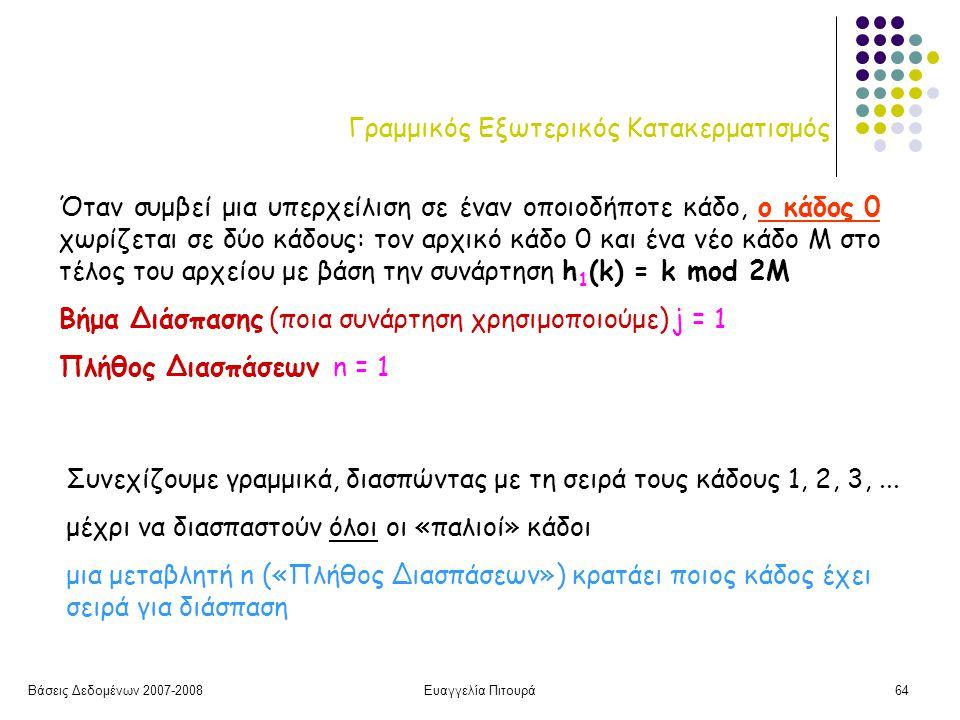 Βάσεις Δεδομένων 2007-2008Ευαγγελία Πιτουρά64 Γραμμικός Εξωτερικός Κατακερματισμός Όταν συμβεί μια υπερχείλιση σε έναν οποιοδήποτε κάδο, ο κάδος 0 χωρίζεται σε δύο κάδους: τον αρχικό κάδο 0 και ένα νέο κάδο Μ στο τέλος του αρχείου με βάση την συνάρτηση h 1 (k) = k mod 2M Βήμα Διάσπασης (ποια συνάρτηση χρησιμοποιούμε) j = 1 Πλήθος Διασπάσεων n = 1 Συνεχίζουμε γραμμικά, διασπώντας με τη σειρά τους κάδους 1, 2, 3,...
