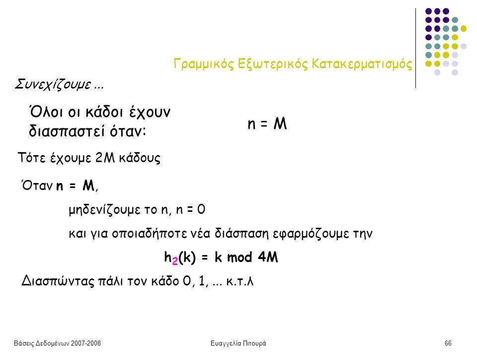 Βάσεις Δεδομένων 2007-2008Ευαγγελία Πιτουρά66 Γραμμικός Εξωτερικός Κατακερματισμός Όλοι οι κάδοι έχουν διασπαστεί όταν: n = M Τότε έχουμε 2M κάδους Όταν n = M, μηδενίζουμε το n, n = 0 και για οποιαδήποτε νέα διάσπαση εφαρμόζουμε την h 2 (k) = k mod 4M Διασπώντας πάλι τον κάδο 0, 1,...