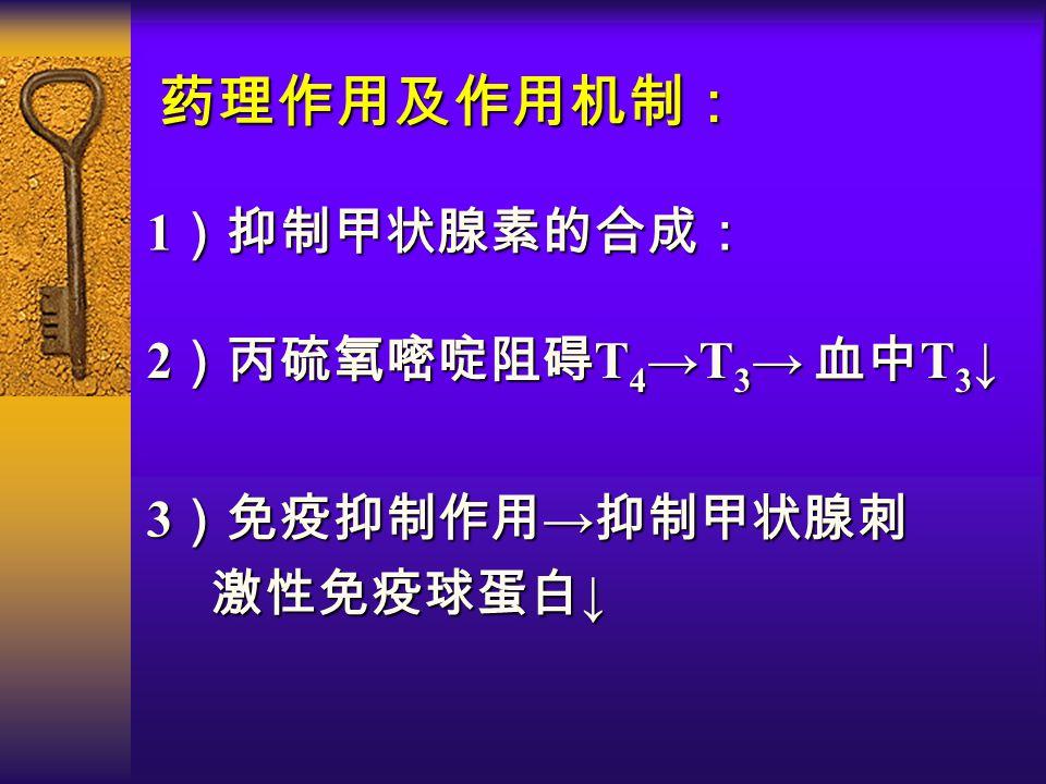 药理作用及作用机制: 1 )抑制甲状腺素的合成: 2 )丙硫氧嘧啶阻碍 T 4 →T 3 → 血中 T 3 ↓ 3 )免疫抑制作用 → 抑制甲状腺刺 激性免疫球蛋白 ↓