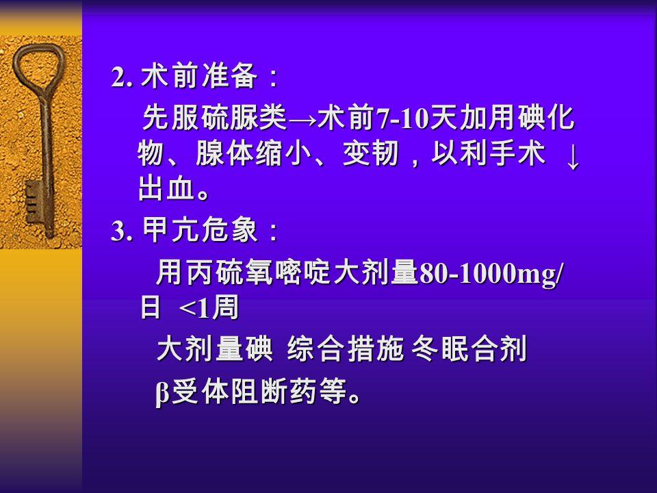 2. 术前准备: 先服硫脲类 → 术前 7-10 天加用碘化 物、腺体缩小、变韧,以利手术 ↓ 出血。 先服硫脲类 → 术前 7-10 天加用碘化 物、腺体缩小、变韧,以利手术 ↓ 出血。 3.