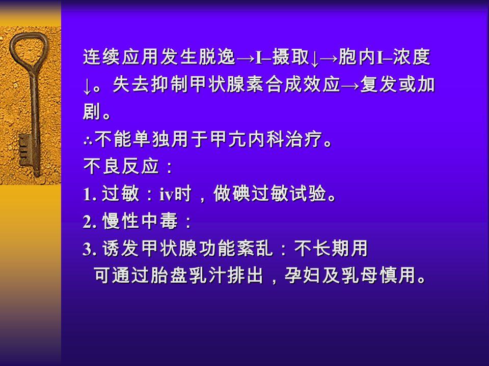 连续应用发生脱逸 →I– 摄取 ↓→ 胞内 I– 浓度 ↓ 。失去抑制甲状腺素合成效应 → 复发或加 剧。 ∴不能单独用于甲亢内科治疗。不良反应: 1.