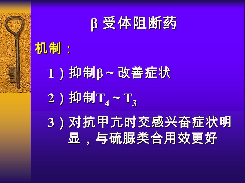 β 受体阻断药 机制: 1 )抑制 β ~改善症状 1 )抑制 β ~改善症状 2 )抑制 T 4 ~ T 3 2 )抑制 T 4 ~ T 3 3 )对抗甲亢时交感兴奋症状明 显,与硫脲类合用效更好 3 )对抗甲亢时交感兴奋症状明 显,与硫脲类合用效更好