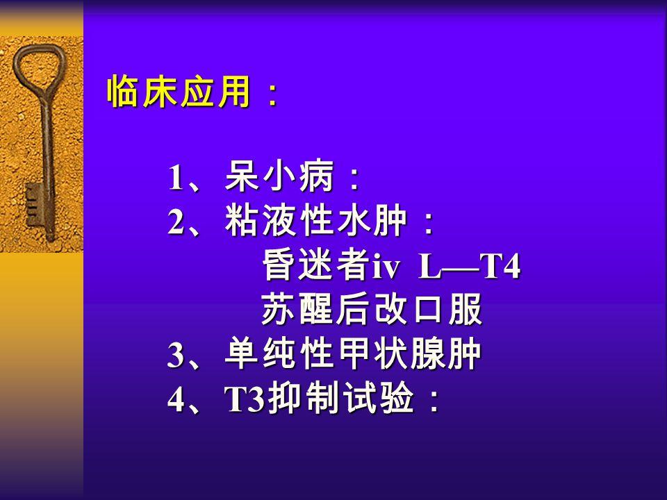 临床应用: 1 、呆小病: 2 、粘液性水肿: 昏迷者 iv L—T4 昏迷者 iv L—T4 苏醒后改口服 苏醒后改口服 3 、单纯性甲状腺肿 4 、 T3 抑制试验: