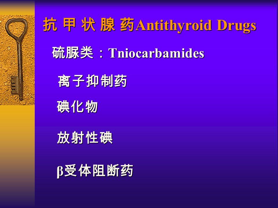 抗 甲 状 腺 药 Antithyroid Drugs 硫脲类: Tniocarbamides 硫脲类: Tniocarbamides 碘化物 β 受体阻断药 β 受体阻断药 放射性碘 离子抑制药 离子抑制药