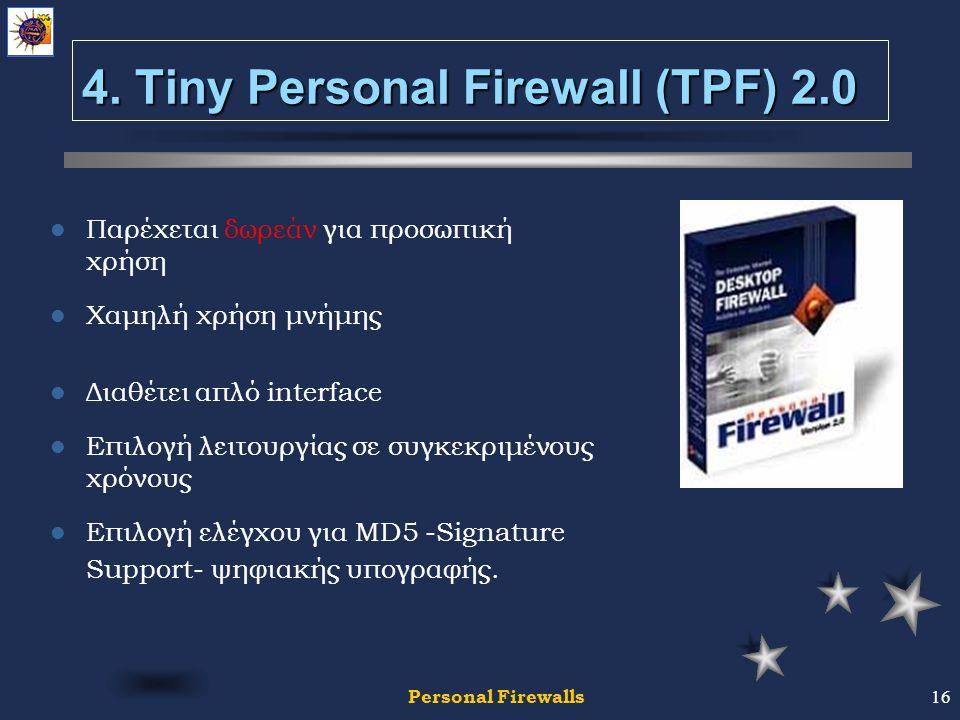 Personal Firewalls16 4.