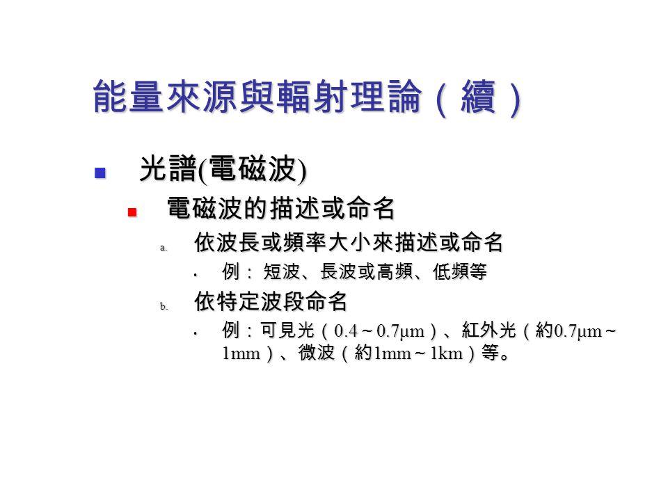 能量來源與輻射理論(續) 光譜 ( 電磁波 ) 光譜 ( 電磁波 ) 電磁波的描述或命名 電磁波的描述或命名 a. 依波長或頻率大小來描述或命名 例: 短波、長波或高頻、低頻等 例: 短波、長波或高頻、低頻等 b. 依特定波段命名 例:可見光( 0.4 ~ 0.7μm )、紅外光(約 0.7μm ~