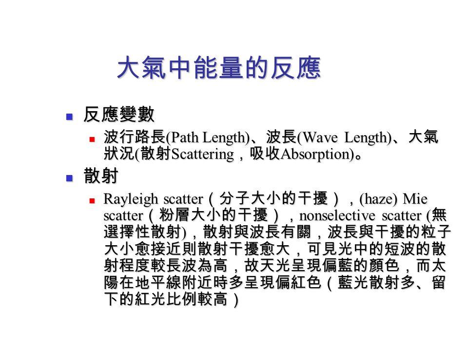 大氣中能量的反應 反應變數 反應變數 波行路長 (Path Length) 、波長 (Wave Length) 、大氣 狀況 ( 散射 Scattering ,吸收 Absorption) 。 波行路長 (Path Length) 、波長 (Wave Length) 、大氣 狀況 ( 散射 Scat