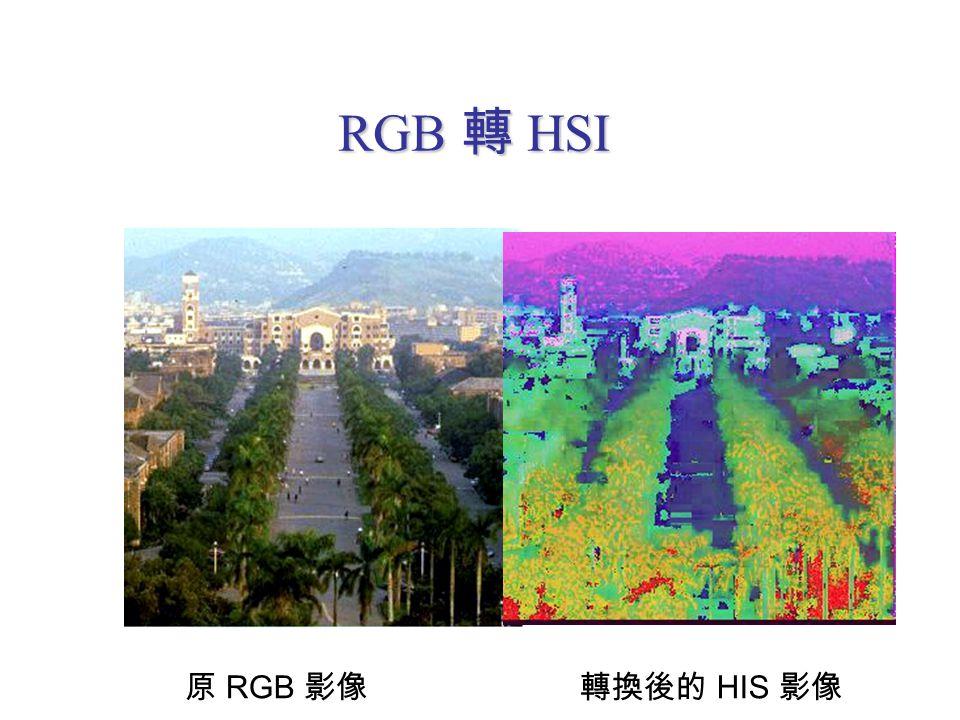 RGB 轉 HSI 原 RGB 影像轉換後的 HIS 影像