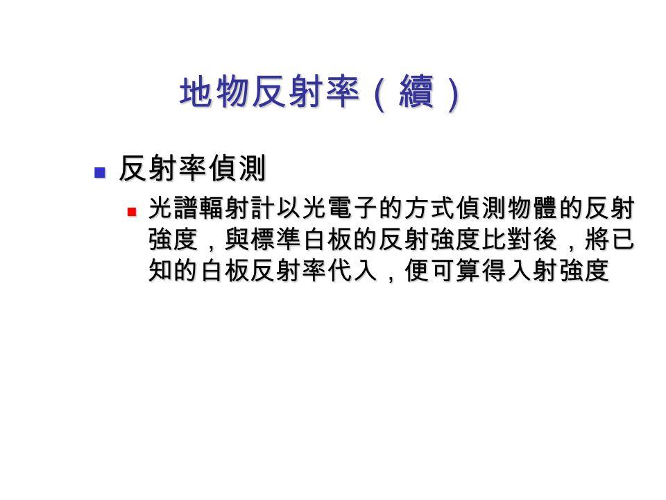 地物反射率(續) 反射率偵測 反射率偵測 光譜輻射計以光電子的方式偵測物體的反射 強度,與標準白板的反射強度比對後,將已 知的白板反射率代入,便可算得入射強度 光譜輻射計以光電子的方式偵測物體的反射 強度,與標準白板的反射強度比對後,將已 知的白板反射率代入,便可算得入射強度