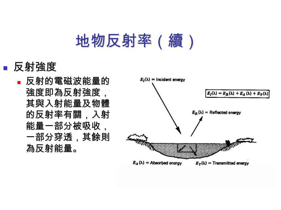 地物反射率(續) 反射強度 反射強度 反射的電磁波能量的 強度即為反射強度, 其與入射能量及物體 的反射率有關,入射 能量一部分被吸收, 一部分穿透,其餘則 為反射能量。 反射的電磁波能量的 強度即為反射強度, 其與入射能量及物體 的反射率有關,入射 能量一部分被吸收, 一部分穿透,其餘則 為反射能