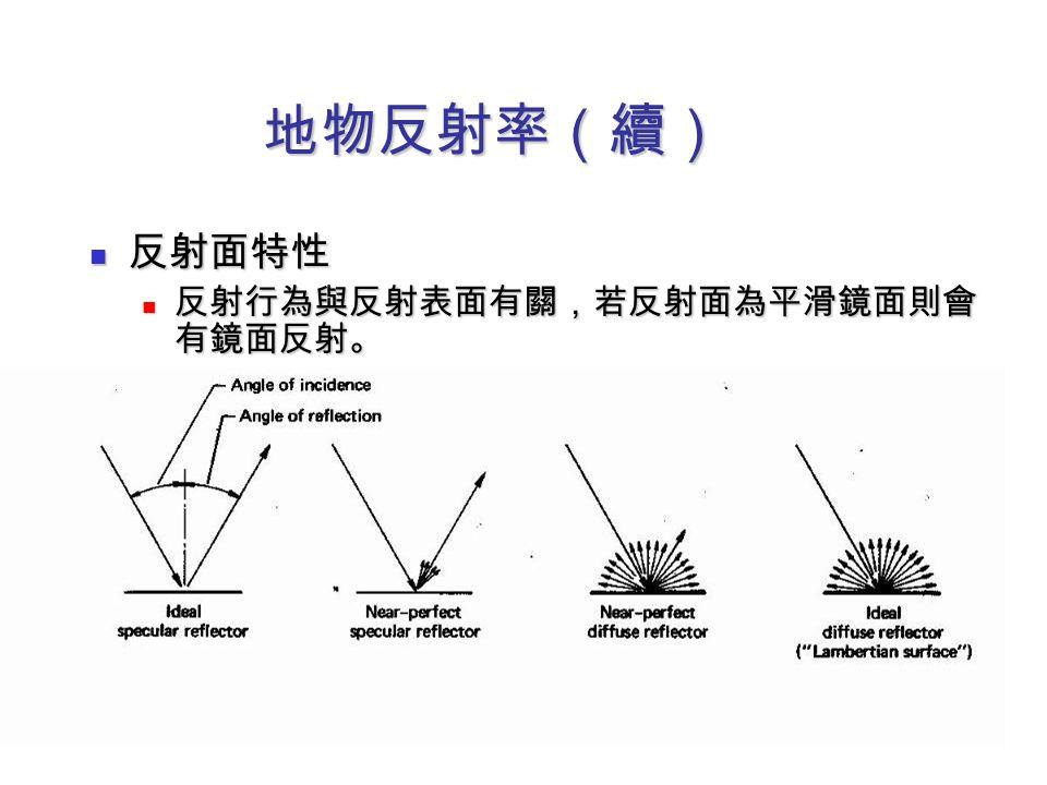 地物反射率(續) 反射面特性 反射面特性 反射行為與反射表面有關,若反射面為平滑鏡面則會 有鏡面反射。 反射行為與反射表面有關,若反射面為平滑鏡面則會 有鏡面反射。