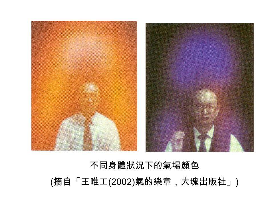 不同身體狀況下的氣場顏色 ( 摘自「王唯工 (2002) 氣的樂章,大塊出版社」 )