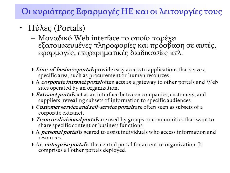 Πύλες (Portals) –Μοναδικό Web interface το οποίο παρέχει εξατομικευμένες πληροφορίες και πρόσβαση σε αυτές, εφαρμογές, επιχειρηματικές διαδικασίες κτλ.