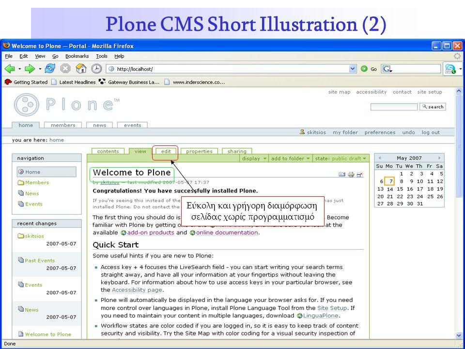 Plone CMS Short Illustration (2) Εύκολη και γρήγορη διαμόρφωση σελίδας χωρίς προγραμματισμό