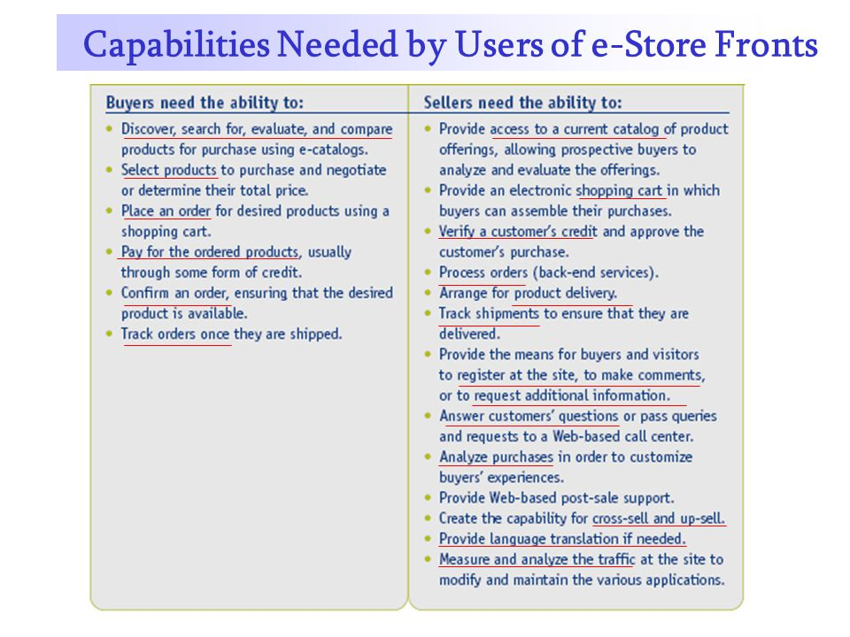 Capabilities Needed by Users of e-Store Fronts