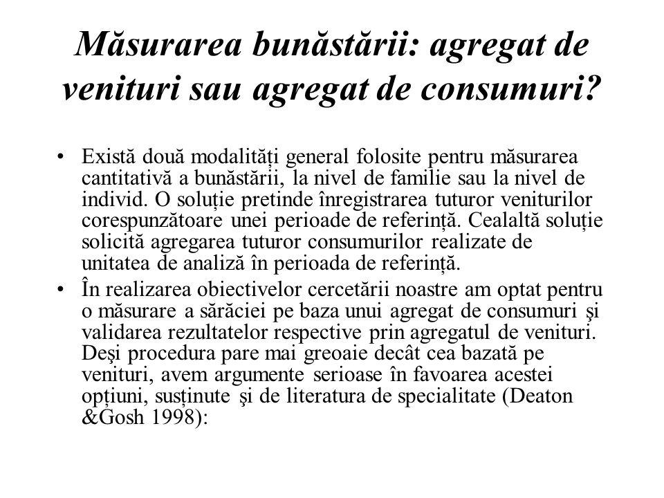 Măsurarea bunăstării: agregat de venituri sau agregat de consumuri.