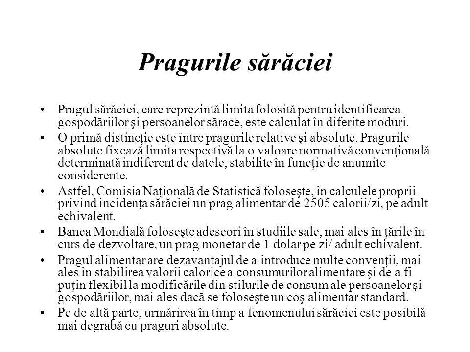 Pragurile sărăciei Pragul sărăciei, care reprezintă limita folosită pentru identificarea gospodăriilor şi persoanelor sărace, este calculat în diferite moduri.
