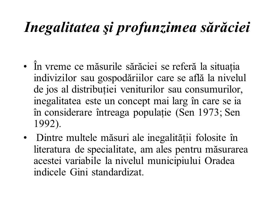 Inegalitatea şi profunzimea sărăciei În vreme ce măsurile sărăciei se referă la situaţia indivizilor sau gospodăriilor care se află la nivelul de jos al distribuţiei veniturilor sau consumurilor, inegalitatea este un concept mai larg în care se ia în considerare întreaga populaţie (Sen 1973; Sen 1992).