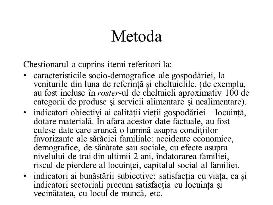 Metoda Chestionarul a cuprins itemi referitori la: caracteristicile socio-demografice ale gospodăriei, la veniturile din luna de referinţă şi cheltuielile.