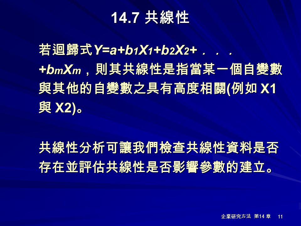 企業研究方法 第 14 章 11 14.7 共線性 若迴歸式 Y=a+b 1 X 1 +b 2 X 2 + ... +b m X m ,則其共線性是指當某一個自變數 與其他的自變數之具有高度相關 ( 例如 X1 與 X2) 。 共線性分析可讓我們檢查共線性資料是否 存在並評估共線性是否影響參數的建立
