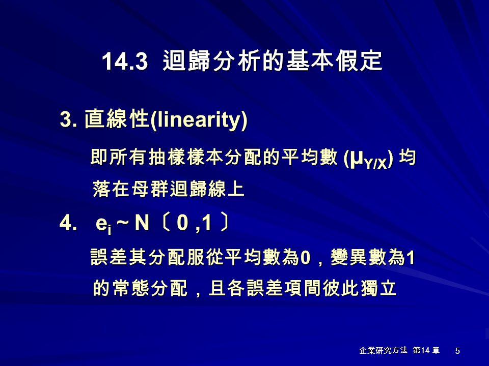 企業研究方法 第 14 章 5 14.3 迴歸分析的基本假定 3. 直線性 (linearity) 即所有抽樣樣本分配的平均數 ( μ Y/X ) 均 落在母群迴歸線上 即所有抽樣樣本分配的平均數 ( μ Y/X ) 均 落在母群迴歸線上 4. e i ~ N 〔 0,1 〕 誤差其分配服從平均數為