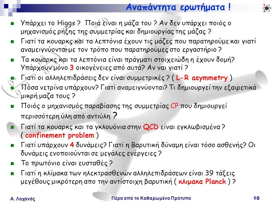 Πέρα από το Καθιερωμένο Πρότυπο 10 Α. Λαχανάς Αναπάντητα ερωτήματα ! Υπάρχει το Higgs ? Ποιά ειναι η μάζα του ? Αν δεν υπάρχει ποιός ο μηχανισμός ρήξη