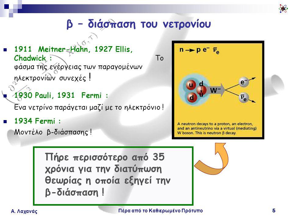 Πέρα από το Καθιερωμένο Πρότυπο 5 Α. Λαχανάς β – διάσπαση του νετρονίου 1911 Meitner-Hahn, 1927 Ellis, Chadwick : Το φάσμα της ενέργειας των παραγομέν