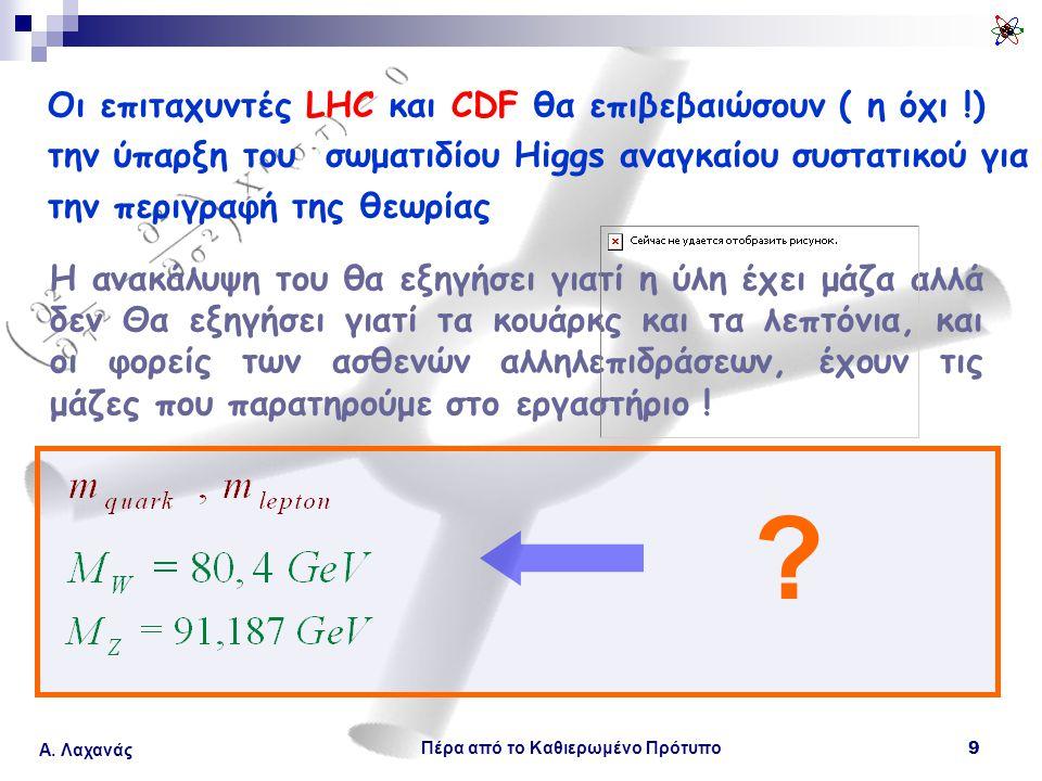 Πέρα από το Καθιερωμένο Πρότυπο 9 Α. Λαχανάς Οι επιταχυντές LHC και CDF θα επιβεβαιώσουν ( η όχι !) την ύπαρξη του σωματιδίου Higgs αναγκαίου συστατικ