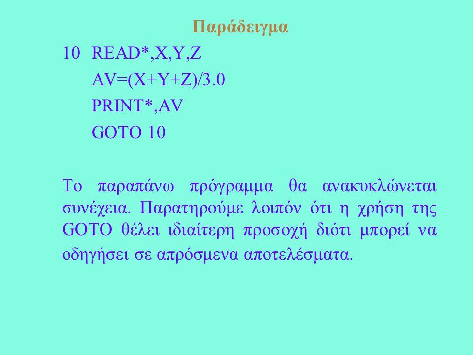 Παράδειγμα 10READ*,X,Y,Z AV=(X+Y+Z)/3.0 PRINT*,AV GOTO 10 Το παραπάνω πρόγραμμα θα ανακυκλώνεται συνέχεια.