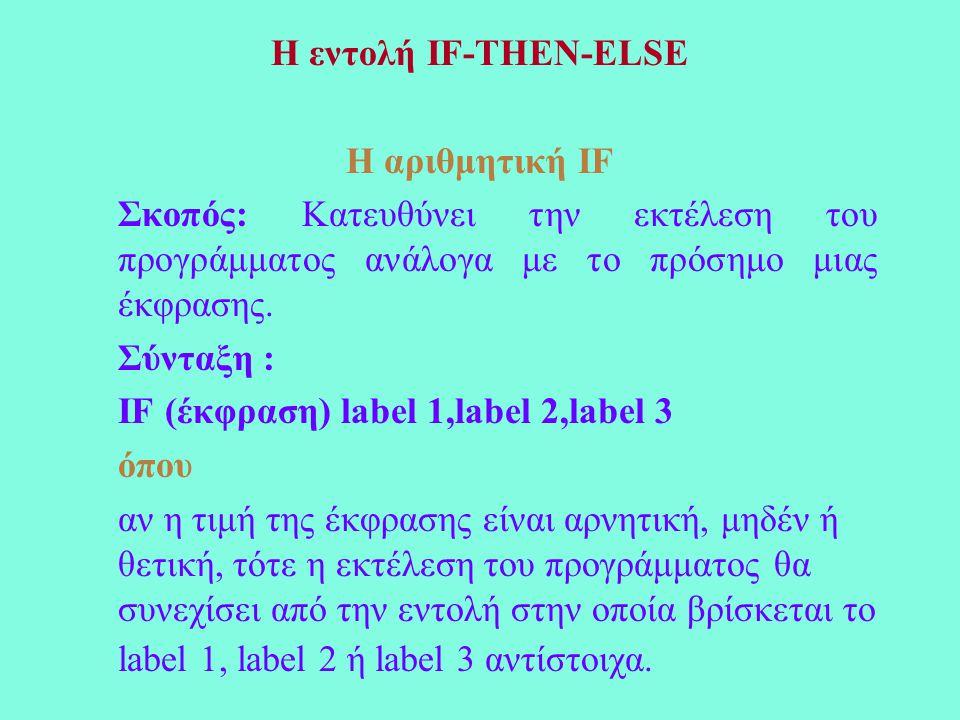 Η εντολή IF-THEN-ELSE Η αριθμητική IF Σκοπός: Κατευθύνει την εκτέλεση του προγράμματος ανάλογα με το πρόσημο μιας έκφρασης.