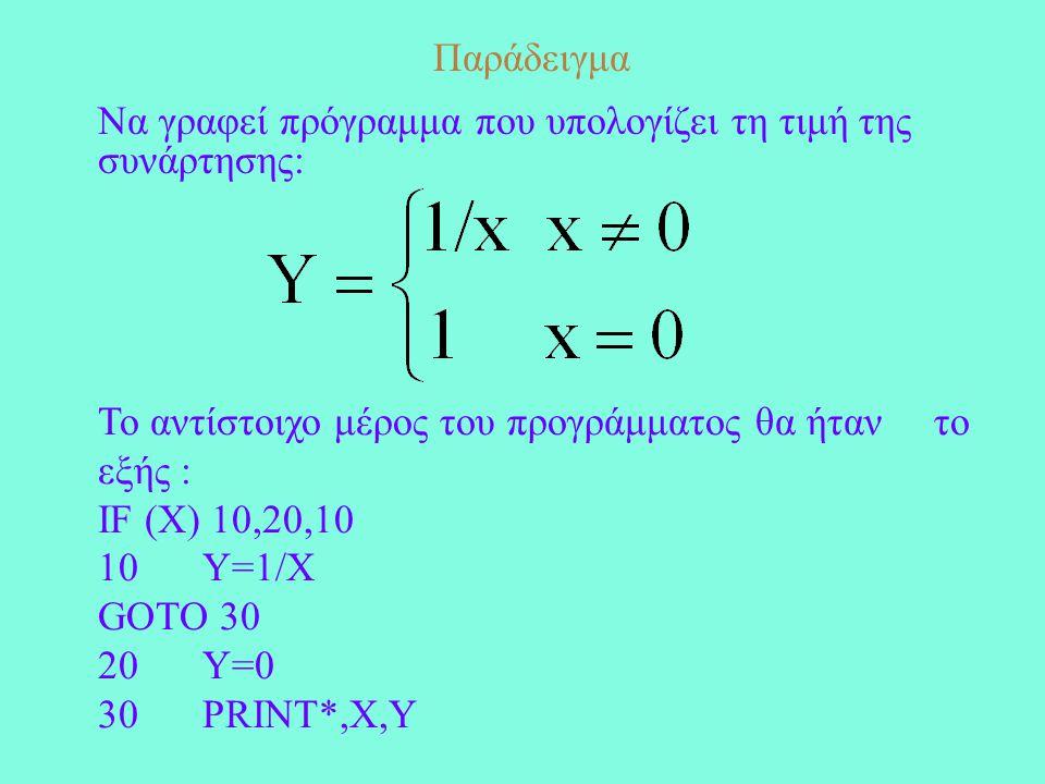 Παράδειγμα Να γραφεί πρόγραμμα που υπολογίζει τη τιμή της συνάρτησης: Το αντίστοιχο μέρος του προγράμματος θα ήταν το εξής : IF (X) 10,20,10 10Y=1/X GOTO 30 20Y=0 30PRINT*,X,Y