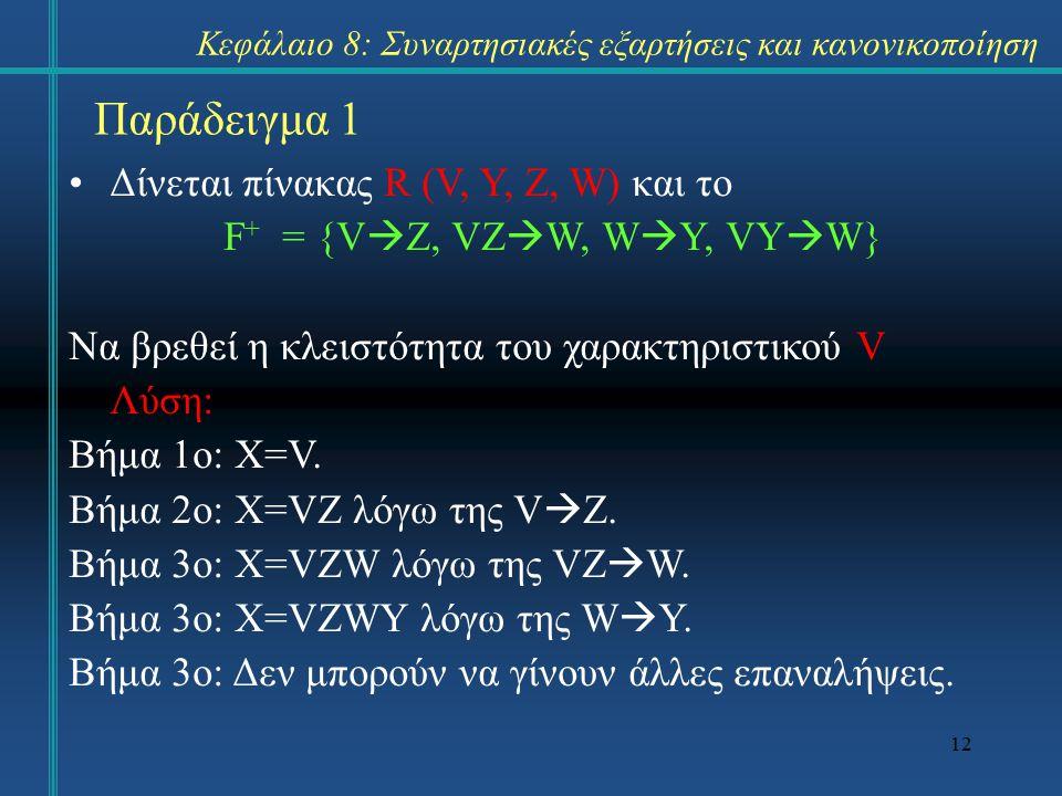 12 Παράδειγμα 1 Δίνεται πίνακας R (V, Y, Z, W) και το F + = {V  Z, VZ  W, W  Y, VY  W} Να βρεθεί η κλειστότητα του χαρακτηριστικού V Λύση: Βήμα 1ο: X=V.