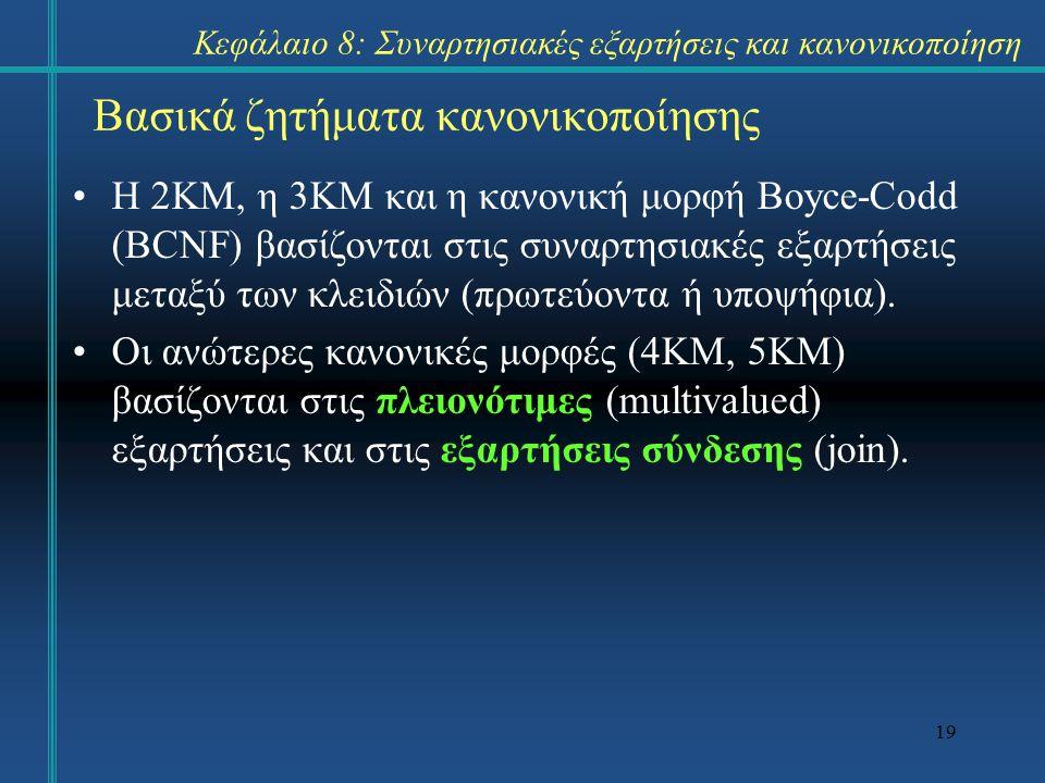 19 Βασικά ζητήματα κανονικοποίησης Η 2KM, η 3KM και η κανονική μορφή Boyce-Codd (BCNF) βασίζονται στις συναρτησιακές εξαρτήσεις μεταξύ των κλειδιών (π